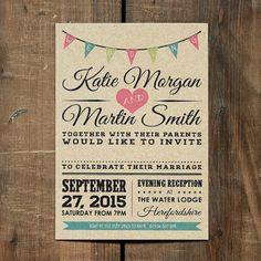 Vintage Bunting nozze invito Set sulla carta Kraft - matrimonio rustico invita, UK matrimonio rustico inviti, inviti matrimonio rustico