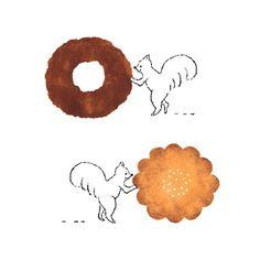 have a tea break... 家事がひと段落するこの時間、なにかつまみたくなるんですよね。。子どもの頃、私と姉が夜こっそりおやつを食べた翌朝は決まって母が「頭の黒いネズミが出たみたいね〜」と言ってたのを思い出しました。  #illustration #doughnut #cookie