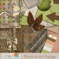 #PixelsAndArtDesign - Earth Angel Warm and natural colors, this kit will be perfect for ecology themed page or Outdoor LO.  Includes :  - 10 patterned and textured papers.  - A complete carved alpha (with 98 letters, accentuated letters, symbols and numbers).  - 1 Arrow  - 2 Lens buttons  - 3 Glittered frames (circle, square, rectangle)  - 1 Earth sphere  - 1 Paper leaf  - 1 Mosaic plate  - 1 Ribbon  - 1 Pair of paper wings  - 1 Iron wire with beads  - 1 Paintchip.       ..
