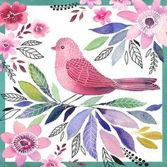 milascioandare:  Watercolor Bird Red Sq  By Elena Vladykina