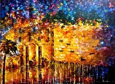 "Wailing Wall 4 — PALETTE KNIFE Cityscape Modern Wall Art Deco Oil Painting On Canvas By Leonid Afremov - Size: 40"" x 30"" (100 cm x 75 cm)"