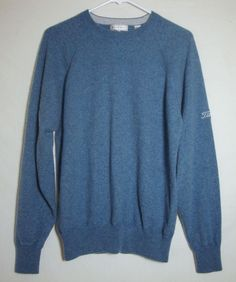 Peter Millar 100% Cashmere Sweater Titleist Blue Long Sleeve Crew Neck Men Large #PeterMillar #Crewneck