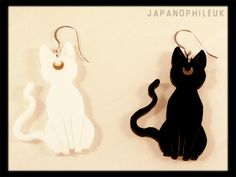 Sailor Moon inspired Artemis and Luna Earrings with Sterling Silver fish hooks.