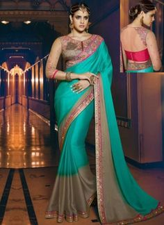 Turquoise Grey Embroidery Border Work Georgette Silk Designer Fancy Sarees