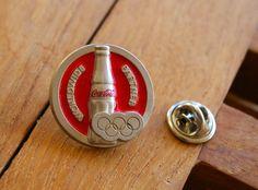 """Coca-Cola Worldwide Olympic Partner"" Olympics Lapel Pin Pinback Red Silver Tone  | eBay"