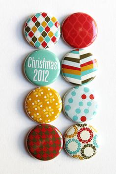I was browsing Pinterest and I found these adorable buttons made with my Retro Christmas collection! It is so fun to see how people actually use my papers! Awesome!