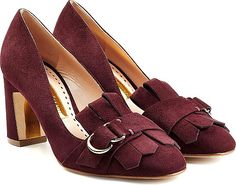 Rupert Sanderson Shoes - Demure loafer styling is make luxe in Rupert Sanderson's blocky heel pumps.  Prune suede, round toe, belted fringe, gold-toned buckle, leather insole and sole. - #rupertsandersonshoes #redshoes