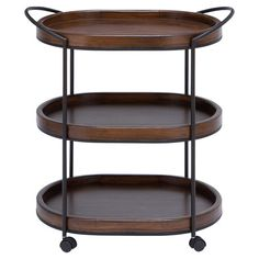 This 3-tier wood serving cart is great for setting out drinks at your next party, or doubles as a storage rack in the bathroom when stocked with towels and t...