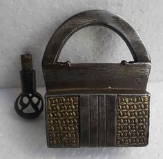 Antique Vintage Unique handmade Brass fitted screw locking Iron padlock