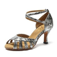 CRC Womens Stylish Peep Toe Grey Floral Printed Synthetic Ballroom Morden Salsa Latin Tango Party Wedding Professional Dance Sandals 8 M US *** You can get additional details at the image link.