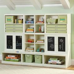Paint the cabinets with chalkboard paint. (can be used inside the cabinet or on the outside door like it is in the picture)