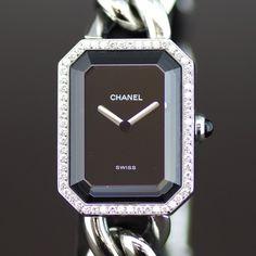 【買取】CHANEL(シャネル) プルミエール ダイヤベゼル M クオーツ SS レディース ブラック文字盤時計/ベゼルには惜しみなくダイヤモンド並んでいます。リューズ部分には天然石カショロンを使用。/専門鑑定士があなたの商品を高額査定!全国どこでも自宅にいながら申込から買取まで完了します♪
