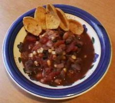 Taco Soup with Venison  Ingredients  1 lb lean venison, cubed (stew quality meat)  1 onion, chopped  1 pkg taco seasonings  1 pkg dry Ranch seasonings  2 large cans diced tomatoes, undrained  1 can Rotel tomatoes, undrained  1 can black beans  1 can pinto beans  1 1/2 cups frozen whole kernel corn (or one can of corn)  Directions  I made this in a crock pot. To do that, sauté the onions in olive oil. Then put all the ingredients in the crock pot and cook on low 4-6 hours.  If you want to use…