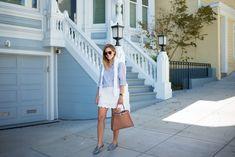 Love such a soft, light blue summery look, esp the scallop skirt matching the sweater- ks shoesaren't too bad either. (love) Gmg-smitten