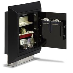 The Platinum Wall Safe from DigitalSafe in Black shows the compartment that hides behind the wall.  http://www.digitalsafesonline.com/#!platinum-wall-safe/cgy