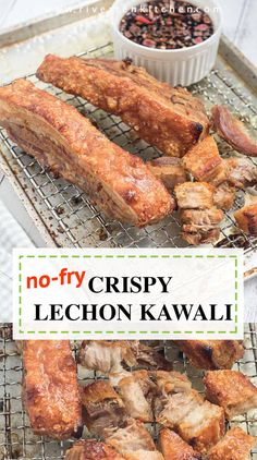 Super crispy skin, tender, and juicy Lechon Kawali that is cooked in an oven and not deep-fried. This is your favorite Filipino crispy pork belly made easier and delicious with the simplest seasoning. Pork Belly Recipe Oven, Pork Belly Lechon Recipe, Lechon Belly, Pork Recipes, Cooking Recipes, Crispy Pork Belly Recipes, Banana Recipes, Recipies, Comida Filipina