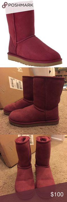 UGG Australia classic short sangria wine boots UGG Australia classic short limited edition sangria wine boots. In mint condition, these were only worn once! Size 7. Please use the offer tool for offers and not in the comments. I'm not interested in trading. UGG Shoes Winter & Rain Boots