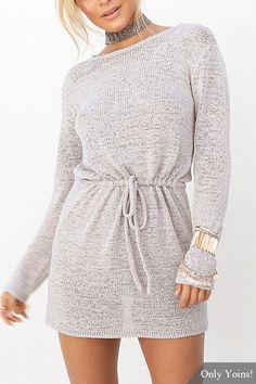 Grey Open Back Drawstring Waist Knit Mini Dress Dress
