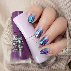 Blue & Purple Broken Glass Nail Design