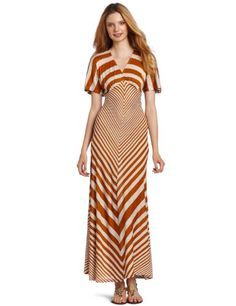 nice Testament Women's Short Sleeve Stripe Maxi Dress