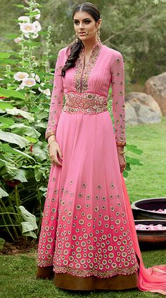 Fantastic Pink Georgette Floor Length Anarkali Suit With Dupatta  2BR310325  Fantastic pink georgette floor length anarkali suit which is ornamented with stone, zari, resham embroidery work on the yoke, sleeves and lower part which add to the classy look. Matching bottom and dupatta attached with this attire.This unstitched outfit can be stitched in the maximum bust size of 42 inches