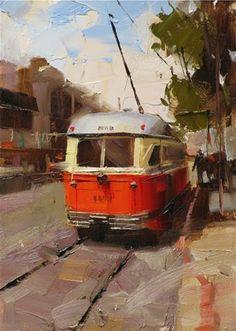 """Muni in San Francisco"" - Original Fine Art for Sale - © Qiang Huang"