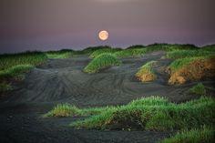 Black sand Vs Green grass