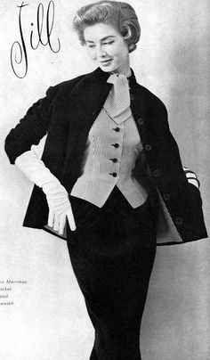 1953Model in velveteen suit with striped taffeta lining to match weskit by Judy 'n Jill, Vogue, September
