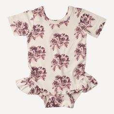 short sleeve ruffle leg bodysuit | bamboo | rose