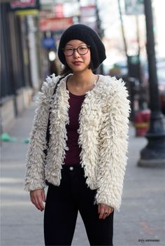 Slouchy hat, shaggy sweater.