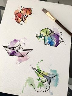 Watercolor origamis