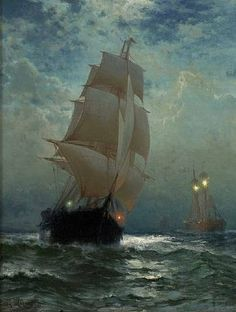 Sailing Ship on the Open Sea- Edward Moran. Ship Paintings, Great Paintings, Moby Dick, Bateau Pirate, Old Sailing Ships, Boat Art, Pirate Life, Nautical Art, Tall Ships