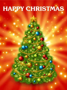 Buy Christmas Tree With Colorful Baubles And Gold Star by kotoffei on GraphicRiver. Christmas tree with colorful baubles and gold star on the top. Glowing festive background with l. Large Christmas Tree, Merry Christmas Happy Holidays, 3d Christmas, Christmas Cards To Make, Christmas Photo Cards, Christmas Signs, Xmas Trees, Christmas Images, Vintage Christmas