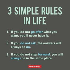 3 Simple Rules In Life – Happiness, Inspiring Quotes, Personal Development Wisdom Quotes, Quotes To Live By, Me Quotes, Motivational Quotes, Funny Quotes, Inspirational Quotes, Cherish Quotes, Quotes In Life, Music Quotes