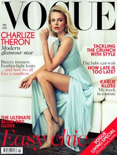 Charlize Theron in Versace for British Vogue, photography Patrick Demarchelier