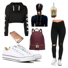 """school outfit #ahzhanaesteen"" by acjones1108 on Polyvore featuring Converse, Topshop, Michael Kors, women's clothing, women, female, woman, misses and juniors"