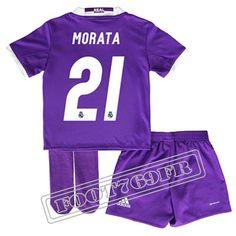 Personnalise Maillot De Morata 21 Real Madrid Enfant Violet 2016 17 Exterieur : La Liga