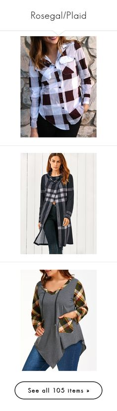 """""""Rosegal/Plaid"""" by sans-moderation ❤ liked on Polyvore featuring tops, plaid button up shirts, side slit shirt, long sleeve shirts, button down shirt, extra long sleeve shirts, t-shirts, plaid t shirt, cowl neck tee and plaid top"""