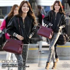 131018 [PRESS] Sooyoung : Airport Fashion - Wearing an oufit to keep her warm enough for Autumn weather, Double M handbag & that sweet smile *hnnggg~^^ Source: Newsen