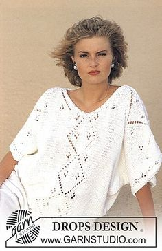 """DROPS Pulli mit Lochmuster in """"Paris"""" Kostenlose Anleitungen von DROPS Design. Best Picture For crochet patterns unique For Your Taste You are looking for something, and it is going to tell you exactl Crochet Pullover Pattern, Crochet Jacket, Lace Jacket, Knit Cowl, Lace Knitting, Knitting Patterns Free, Free Pattern, Finger Knitting, Summer Knitting"""