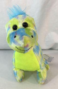 Hug Fun Mini Dinosaur blue green Dino Watercolor Plush Stuffed Animal Toy hair #Hugfun