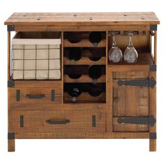 Stow your favorite cabernets and merlots in this rustic wood wine cabinet, showcasing 2 drawers and space for 8 bottles.  Product: