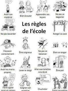 les règles de l'école- great for school vocabulary & discussing differences… French Teaching Resources, Teaching French, Languages Online, Foreign Languages, French Flashcards, French Education, French Classroom, French School, French Immersion