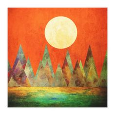 Abstract Landscape Full Moon Mountains Orange Sky Canvas Print