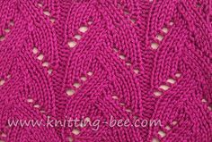 Braided Lace Stitch Pattern by Knitting Bee - http://www.knitting-bee.com/knitting-pattern-treasury/fancy-stitch-knitting-patterns/braided-lace-stitch-pattern