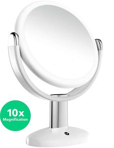 Vremi Magnified Vanity Mirror - 7 Inch Round Makeup Cosmetic Mirror for Bathroom or Bedroom Table Top - Portable Double Sided Glass Mirror Stand with 360 Degree Swivel - White -- Details can be found by clicking on the image. (This is an affiliate link) Portable Bathroom, Bathroom Storage, Bedroom Table, Small Vanity, Circular Mirror, Magnifying Mirror, Makeup Mirror With Lights, Standing Mirror, Makeup Cosmetics