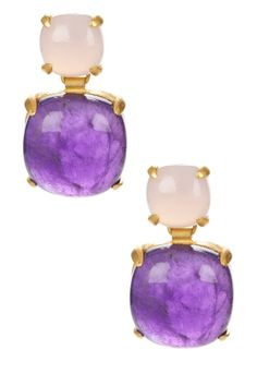 18K yellow gold plated sterling silver, pink chalcedony, amethyst