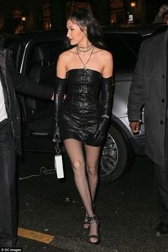 Bella Hadid in Dress – Chrome Hearts x Bella Shoes – Christian Louboutin Bella Hadid Style, 2016 Fashion Trends, Chrome Hearts, Leather Dresses, Old Models, Fashion Models, High Fashion, Women's Fashion, Sexy Dresses