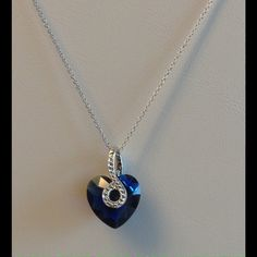 Crystal Blue Necklace .925 Steling Silver High quality .925 Sterling Silver Jewelry Necklaces