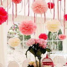 """Tissue Paper Pom Poms Flower Balls  Birthday Wedding Party Xmas Decor 8"""" 10"""" 14"""""""